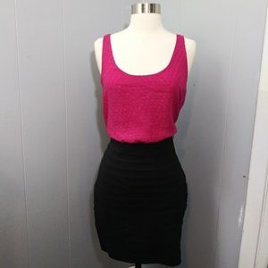 NWT Pink and Black Midi Dress by Express